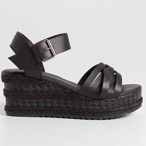 Maurice's Black Eva Platform Wedge Sandal